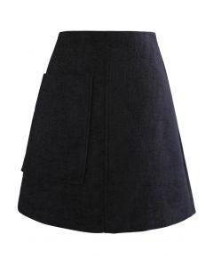 ポケット付きツイードミニスカート ブラック
