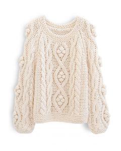 ブレードポンポンハンドニットセーター