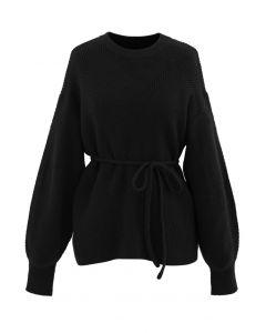 ストリング付きセーター ブラック