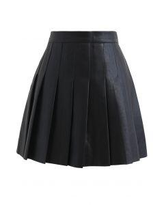 プリーツフェイクレザーミニスカート ブラック