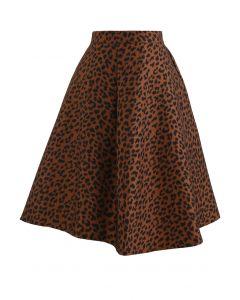 Leopard Jacquard Asymmetric Flare Skirt in Caramel