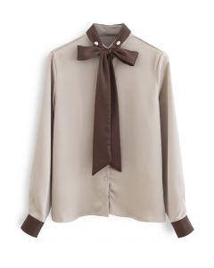 ネクタイネックサテンシャツ ベージュ