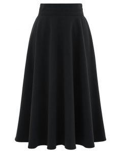 ハイウエストAラインフレアスカート ブラック