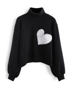 刺繡ハートハイネックセーター ブラック