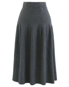 ラディアントラインニットスカート グレー