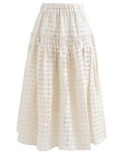 フルサークル刺繡オルガンザスカート アイボリー