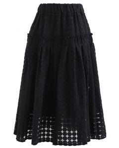 フルサークル刺繡オルガンザスカート ブラック