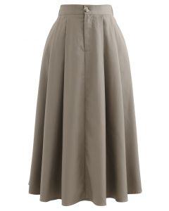 ボタンポケットプリーツフレアスカート