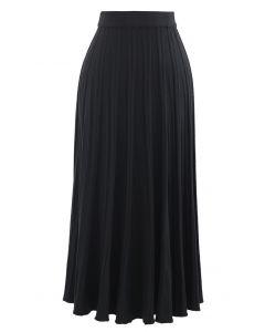 ソリッドプリーツニットスカート ブラック
