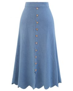 スクロールヘムボタンニットスカート ブルー
