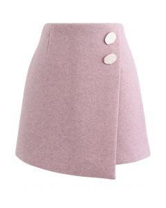 マーブルボタンフラップミニスカート ピンク