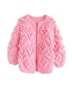 [子供服・女の子]ハート付き ポンポン ニットカーディガン ピンク