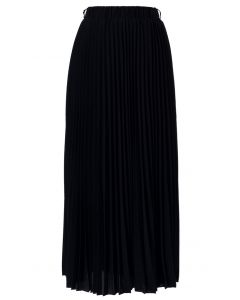 Chiffon Black Pleated Maxi Skirt
