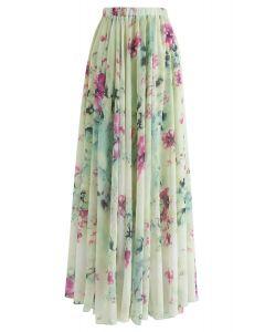 花柄フリルマキシスカート