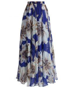 フラワーシフォンマキシスカート  ブルー