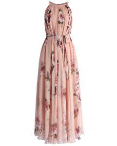 ロマンチック/ピンクローズ/マキシスリップドレス