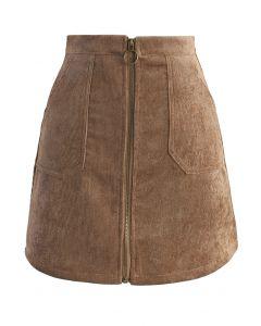ジップアップ台形スカート/褐色