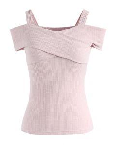 可愛らしい タンクスタイル 肩開き ラップ風ブラウス ピンク