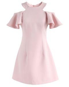 フリル 肩魅せ aライン スケーターワンピース ドレス ピンク