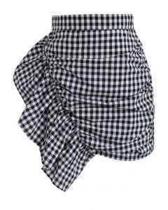 フリル飾り ギンガムチェック 台形スカート