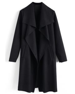 前開き ベルト付き ウール混コート ブラック