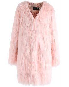 ふわふわ フェイクファー ノーカラー ロングコート ピンク