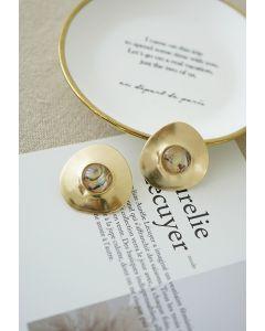 大理石装飾ゴールドイヤリング