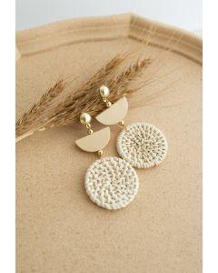 木製織りイヤリング