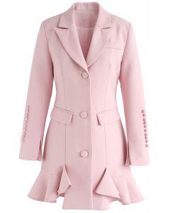 甘目の雰囲気 ペプラムコート ワンピース ピンク