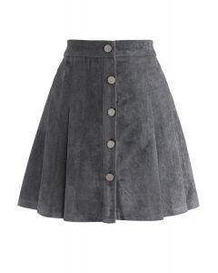 ボタンミニプリーツスカート グレー