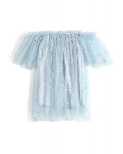 [子供服]星柄メッシュオフショルダーチュニック ダスティブルー