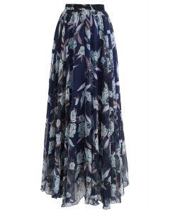 花柄シフォンマキシスカート ネイビー