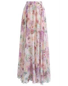 水彩花柄シフォンマキシスカート ピンク