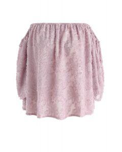 花柄タッセルオフショルダートップス ピンク