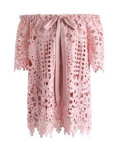オフショルダー花柄クロッシェレーストップス ピンク