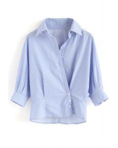 vネックバットウイングスリーブシャツ ブルーストライプ