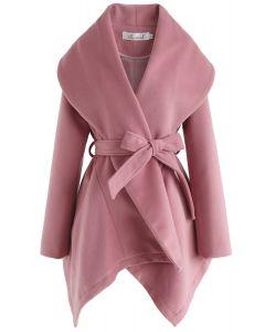 ベルト付きコート ピンク