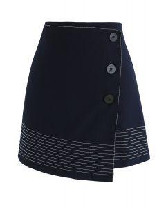 ボタン付きスカート ネイビー