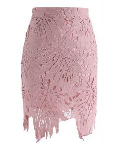 クロッシェレーススカート ピンク