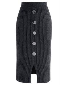 ボタン付きニットスカート グレー