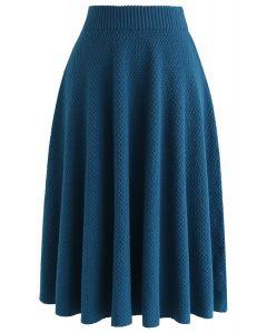 テクスチャニットスカート ブルー