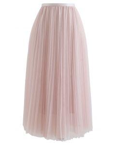 プリーツメッシュチュールスカート ピンク
