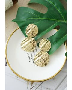 彫刻ゴールドイヤリング