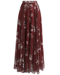 プラム花水彩マキシスカート ワインレッド