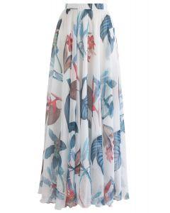 熱帯花水彩マキシスカート ホワイト