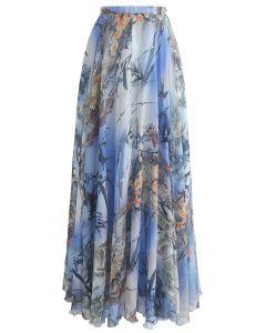 バンブー水彩マキシスカート ブルー