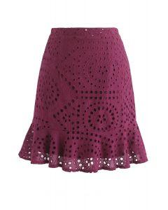 アイレット入り刺繍ラッフルスカート ワインレッド