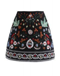 花柄刺繍ショットスカート