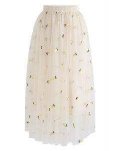 パイナップル柄刺繍メッシュスカート