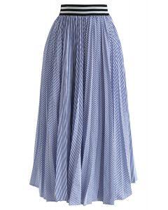 ストライプ柄プリーツスカート ブルー